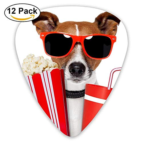 Ein Hund mit Sonnenbrille und Cola-Popcorn-Plektrum 12 Stück Für E-Gitarre, Akustikgitarre, Mandoline und Bass