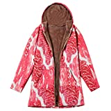 TianWlio Jacken Parka Mäntel Damen Herbst Winter Warme Jacken Winter Warme Outwear Schweinefleisch drucken mit Kapuze Taschen Vintage Übergröße Mäntel Rot XXXXL