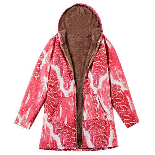 (Mymyguoe Damen Wintermantel Warm Winterparkas Outwear mit Blumendruck und Kapuze Taschen Vintage Große Größe Kurz Mantel Coat mit Fleece-Futter Baumwolle Mantel Winterjacke Fleecejacke)