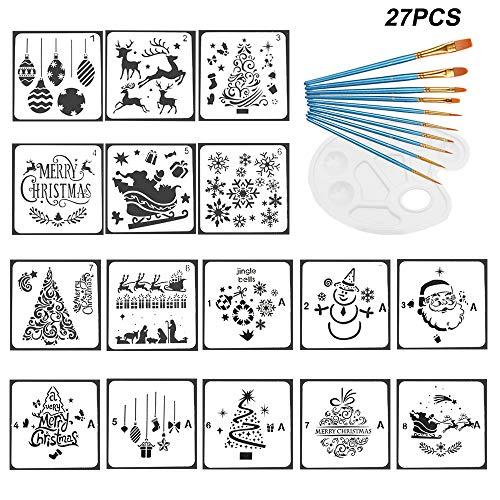 Amajoy 27-teiliges Weihnachts-Malschablonen-Set, inklusive 16 Schablonen für Weihnachten, 1 Farbtablett und 10 Malpinsel, Weihnachts-Zeichnungs-Schablone, Karte, DIY, Fenster-Dekoration