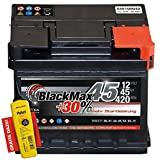 BlackMax+30% - 12 V / 45 Ah - 420 A/EN Autobatterie KFZ PKW Batterie inkl. Polfett
