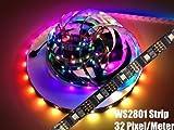 GOESWELL 1M WS2801 RGB LED Streifen 32 LEDs pro Meter DC 5V, Meterware, Ambilight (1M-schwarz PCB)