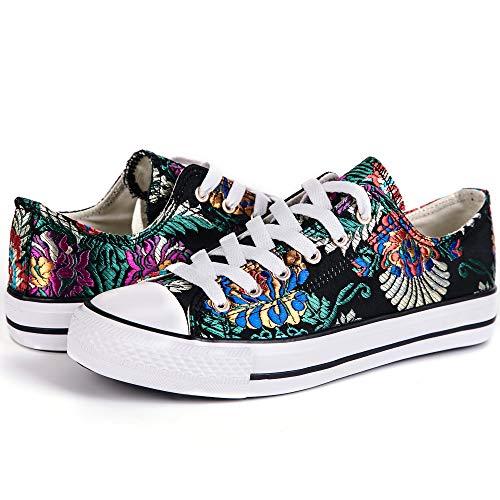the latest d5b10 34534 Hotroad Womens Bordado Canvans Shoes Mujeres Zapatillas Low Top Black  Sneaker Liquidación Ladies Tennis Shoes,