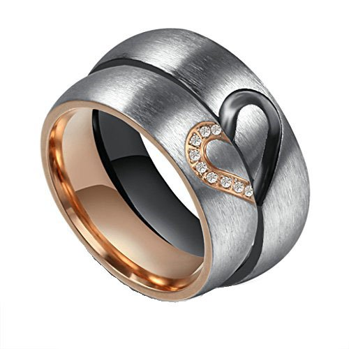 Bishilin Schmuck 1 Paar Edelstahl Partnerringe Bicolor Trauringe Verlobung Ringe Band Damen Gr. 54 (17.2) & Herren Gr. 65 (20.7) (2-band Puzzle Ring)