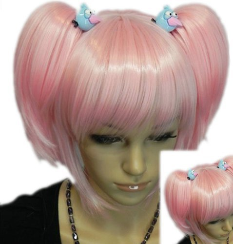 QIYUN.Z Haarteile Damen Perücken Rosa Roromiya Karuta Clip-On- Pferdeschwanz Vollem Pony Hitzebeständige Faser Synthetische Cosplay Anime Kostüm Perücke (Karuta Cosplay Kostüm)