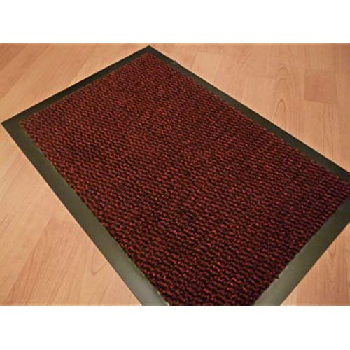 SMALL RED/BLACK DOOR MAT RUBBER BACKED RUNNER BARRIER MATS RUG PVC EDGED  KITCHEN MAT(40 X 60 CM) FREE UK DELIVERY