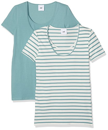 Mamalicious Mllea Organic Nell S/S Mix Top Nf 2-Pack, T-Shirt de Maternité Femme Turquoise (Mineral Blue)