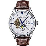 SPOTALEN Herren mechanisch automatisch Armbanduhr Analoge Anzeige Skelett klassisch Handaufzug weißes Zifferblatt mit braunem Echtlederband