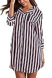 Giorzio Damen Nachthemd Knopfleiste Baumwolle Sleepshirt Kurzarm V-Ausschnitt Nachtwäsche Schlafanzugoberteil