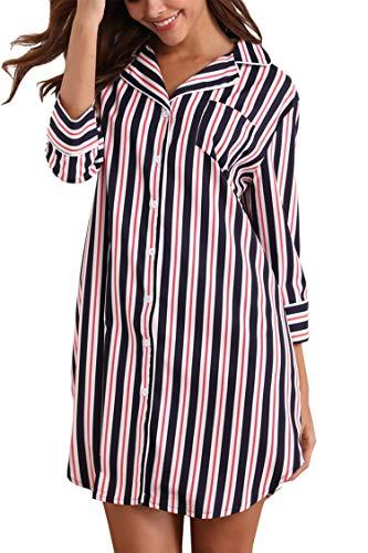 Giorzio Damen Nachthemd Knopfleiste Baumwolle Sleepshirt Kurzarm V-Ausschnitt Nachtwäsche Schlafanzugoberteil mit Brusttasche (Blau,XXL)