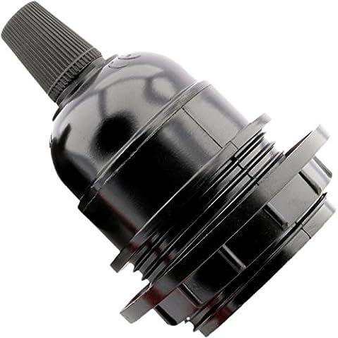 Douille de lampe pour culot E27 Noir Style ancien Avec bague de fixation pour abat jour