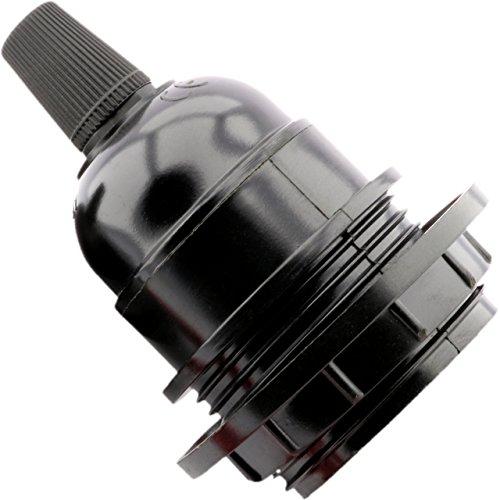 Fassung E27 schwarz Zeitraum Anhänger Form Lampe mit Schirmträgerring - Blk-lampen