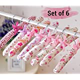 TiedRibbons Set Of 6 Anti Slip Fabric Padded Floral Hangers Heavy Duty Hanging Clothes Of Closet Storage Of Sweaters, Dress, Skirt, Suit