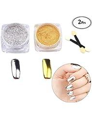 Nägel glitzer, 2 Farben Sets Nail powder, Glitzer Lidschatten, Nagel Pigment Mirror Powder,Nagel Glitter, Spiegel Pulver, Mirror Nail Glitzerpuder , Nagelkunst DIY Dekoration, Nageldesign Chrome