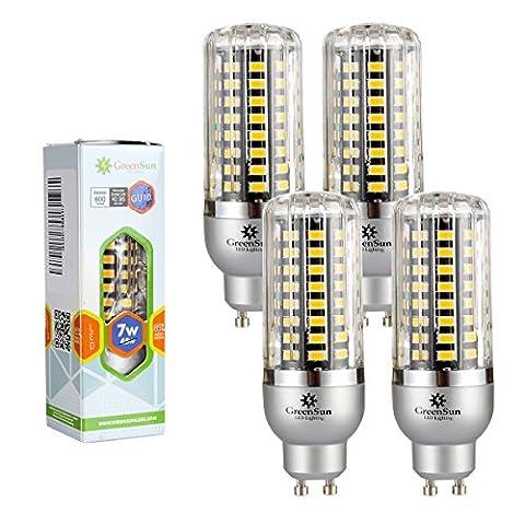 4×GreenSun 7W GU10 LED Energy Saving maïs Ampoules SMD 5736 Équivalent Haute Puissance de la lampe Blanc Chaud AC 85-265V 45W Incandescent Lumière