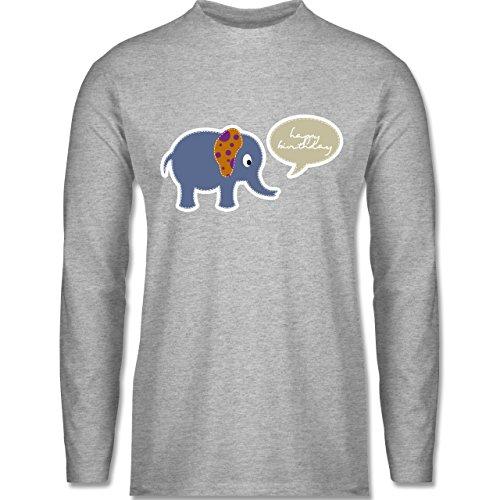 Shirtracer Geburtstag - Elefant Happy Birthday - Herren Langarmshirt Grau Meliert