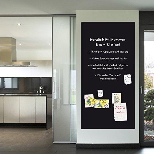 KaRoFoilFIX Selbstklebende und magnetische Folie in Verschiedene Größen | Kreidetafel | Farbe: Schwarz | inkl.Kreidestift | Kreidetafel | Wandfolie (60x100cm)