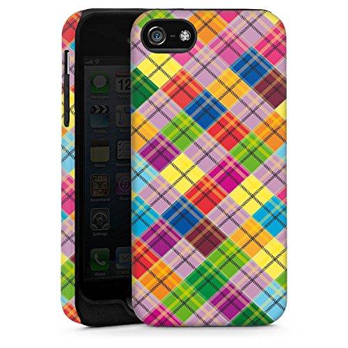 Apple iPhone 5s Housse Étui Protection Coque Carreau couleurs Look tissu Cas Tough brillant