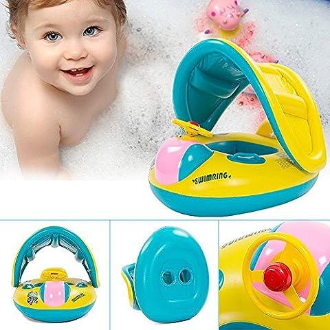 EchoAcc® Gonfiabile Bambino anello di nuoto del galleggiante boa seggiolino auto con parasoil e mutandina per Bambini