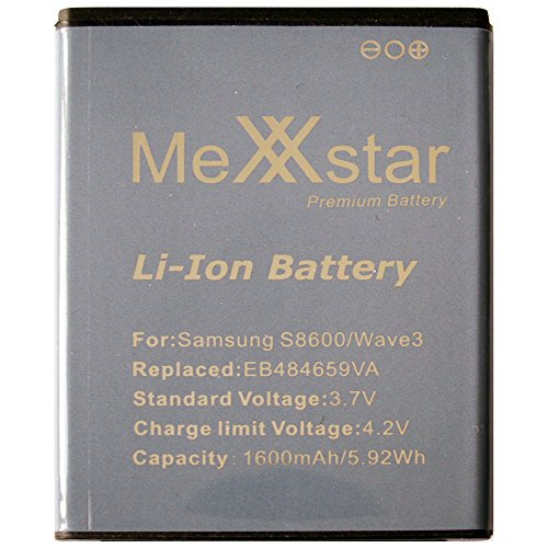 MeXXstar Premium Battery für Samsung i8150 Galaxy W / S8600 Wave 3 (1600mAh/5,9Wh) Li-Ion Akku / EB484659VA, EB484659VABSTD, EB484659VU, EB484659VU
