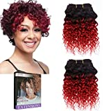 Emmet Short Curly Hair Extension 8Inch Easy Installing & Sewing Ombre Colors Brazilian Human Hair Can be Dyed and Permed Afro Kinky Weave 2Bundles/lot 50g/Bundle (1B#/RED)