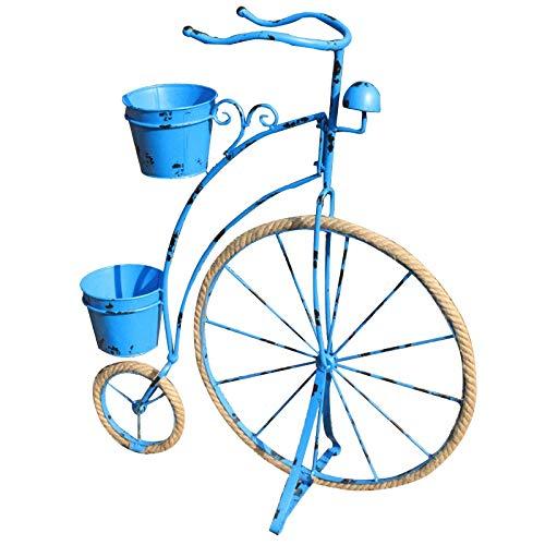 My Yard País Vintage Jardín Bicicleta Jardinera Decoración para el hogar Planta de Hierro Soporte 3 Colores (Color : Blue)