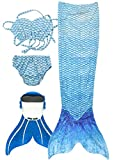 SPEEDEVE Coda di Sirena per Bambina con Bikini,Acqua Blu,150