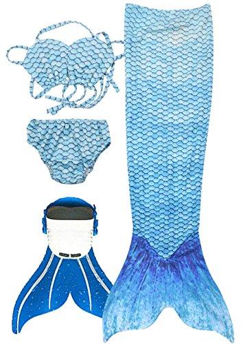 3STEAM Mädchen Meerjungfrauenschwanz Zum Schwimmen mit Meerjungfrau Flosse, Water Blue, S ()