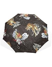 GUKENQ Tiger Gragon - Paraguas de Viaje Ligero y antirayos UV, Paraguas de Lluvia para