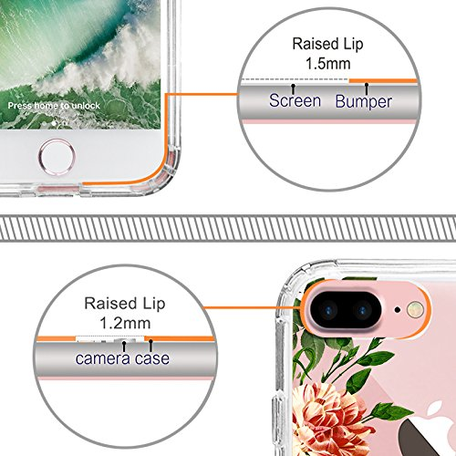 iPhone 8 Plus Hülle, iPhone 7 Plus Hülle, MOSNOVO Tropisch Kaktus Muster TPU Bumper mit Hart Plastik Hülle Durchsichtig Schutzhülle Transparent für iPhone 7 Plus / iPhone 8 Plus (Kaktus) Botany
