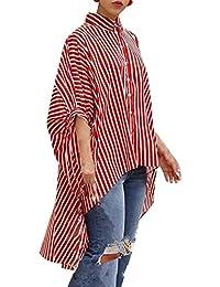 JackenLOVE Primavera Otoño Mujeres Irregular Camisas Casual Suelto Rayas tee Shirts Remata Moda Murciélago Mangas Camisetas