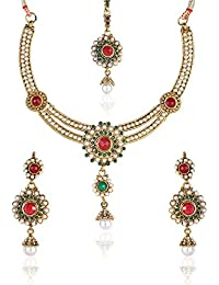 Shining Diva Gold Plated Traditional Pearl Jewellery Set / Necklace Set With Maang Tikka And Earrings For Girls...