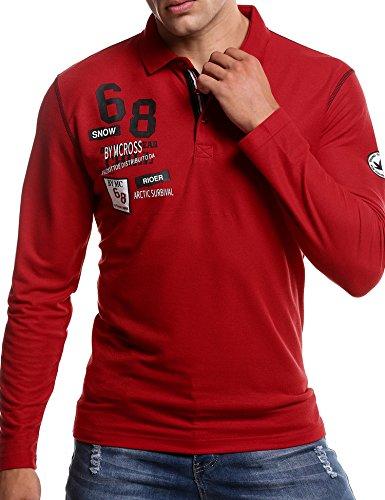 COOFANDY Herren Poloshirt Langarm Polo Kragen mit Stickerei Casual Meliert Slim Fit Freizeit Party Polohemd für Männer -