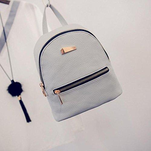 Imagen de goodsatar de las mujeres nuevo cuero artificial  bolso de viaje  escolar 19x17x12cm  gris, un tamaño  alternativa