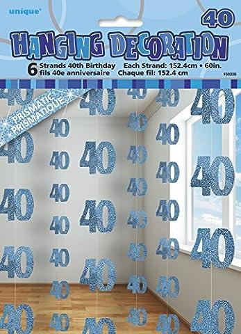 Unique Party - 55335 - Paquet de 6 Décorations de 40e Anniversaire Suspendues - 1,5 m - Bleu Glitz