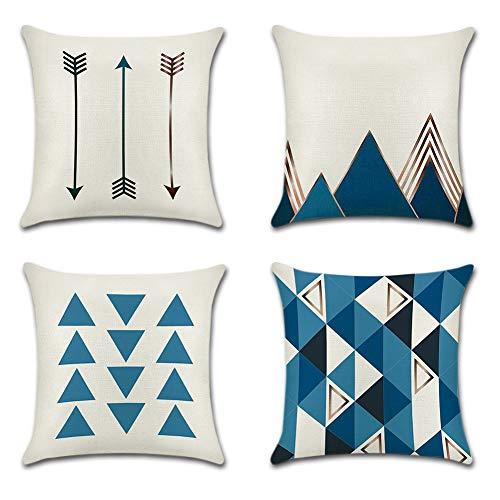 JOTOM Geometrie Muster Kissenbezug 4er Set Leinen Baumwoll Kissenhülle Kopfkissenbezug Dekokissen 45 x 45cm für Sofa Auto Terrasse (Blaues Dreieck) -