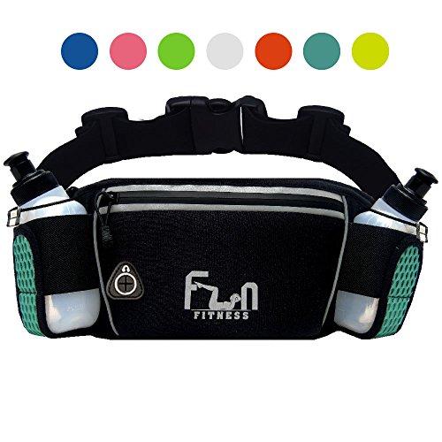 FunH2OBelt (Türkis - Groß) Trinkgürtel Hydration Laufende Band mit Wasser Flaschen 175 ml - Hüfttasche für Outdoor und Sport, mit Wasserdichten Tasche für iPhone, iPod, Samsung & Alle Smartphones