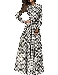 SaiDeng Elegante Vendimia Mujer Vestidos De Noche Manga Larga Plisado Vestidos De Cóctel Vestido Largo M Blanco
