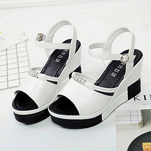 Peep toe Damen Flops Römische High Weiß Saingace Flip Schuhe Sandalen Sommer pwUqAEa