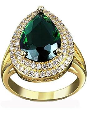 Beydodo Juwelier Damen Ringe (Hochzeitsring) aus Hochglanz Vergoldet Tropfen Design Mit Weiß Zirkonia Ringe