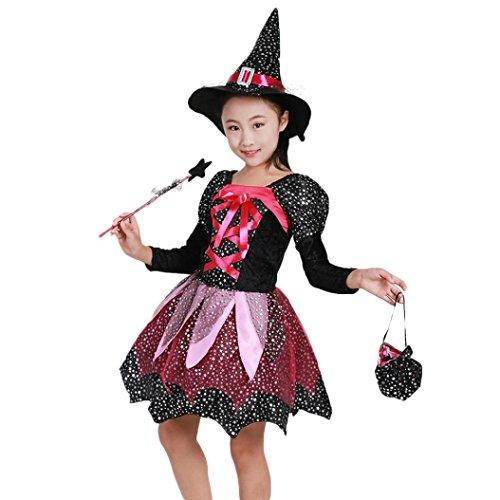 Mounter-Ensembles de Automne et Hiver Fille, 4 PC Enfants Bébé Filles Sorcière Anime Dance Performance Vêtements + Hat + Magic Wand + Sac Costume, Vêtements d'halloween (Noir, 4-5 Ans)