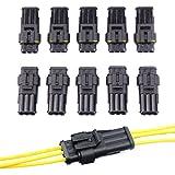 CLE DE TOUS - 10 Juegos de 3 PIN Conector Sellado Estanco Impermeable para Cables Eléctricos Coche