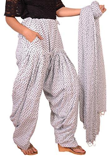 3ba38ab072 Buy Bottomline Women Printed Solid Cotton Black & White Patiala Salwar  Dupatta Set(Free Size,Multi Color) on Amazon | PaisaWapas.com