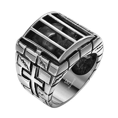 XBYMEN Herrenmode Stainless Steel Cage Schädel Kreuz Ring Band Großes Weinlese gotisches Silber Schwarz -