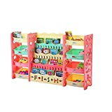 Libreria per Bambini Scaffale portagiochi per Libri e unità di stoccaggio con Dispositivo Anti-ribaltamento Scaffale per Giocattoli 4 Livelli Scaffale per Libri 4 Livelli per Nursery Playroom