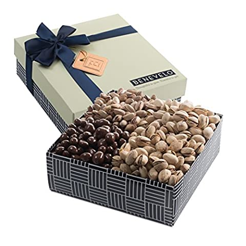 Benevelo Gifts Gourmet Hamper Gift Tray - Nut Platter with Assorted Pistachios incl. Dark Chocolate Covered Pistachios & More