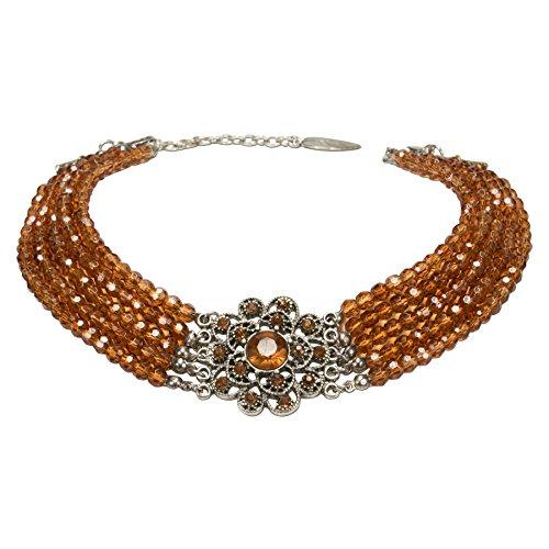 Alpenflüstern Perlen-Kropfkette Elvira - nostalgische Trachtenkette, eleganter Damen-Trachtenschmuck, Dirndlkette braun (Outfit Elvira)