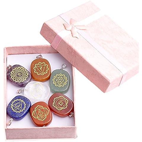 JOVIVI 7Chakra, con pendente ovale simbolo Feng Shui Healing Reiki pietre energia terapia pietra decorazione pendente - Stone Therapy Set