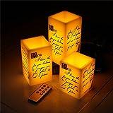 Articolo Specifiche   Set di 3 Candele  Colore chiaro: Bianco Caldo  Materiali: vera cera & LED & occhiali  Batteria: 3 x Batterie AAA  (Non Incluse)  per candela  Durata: 50.000 (H)  Candela a LED dimensioni: 7,5 cm * 10cm/7,5 cm * ...