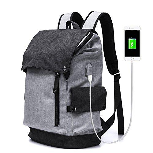 Mode-beiläufiger Rucksack, Ultraleichtwasserdichtes Oxford-Spinnen, das Bergsteiger-Rucksack-große Kapazitäts-Laptop mit USB-Aufladungshafen-Abnutzungs-beständigen Rucksack-Breathable Reise-Unisexschultasche, Schwarzes, Grau wandert ( Design : A )